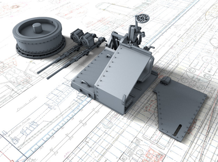1/48 Twin 20mm Oerlikon MKV Mount Not in Use 3d printed 3d render showing product parts