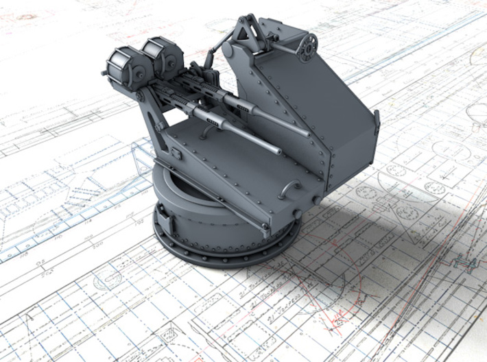1/144 Twin 20mm Oerlikon Powered MKV Mount x4 3d printed 3d render showing product detail