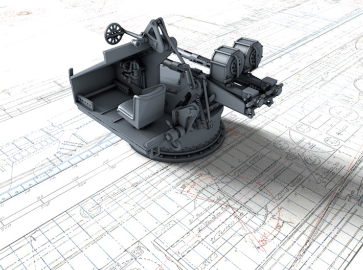 1/144 Twin 20mm Oerlikon Powered MKV Mount x4 3d printed 3d render showing interior detail (without side panel)