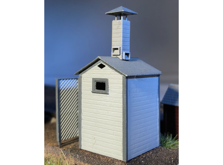 HO Great Northern Double Privy 3d printed Actual model with privacy screen and vent stack