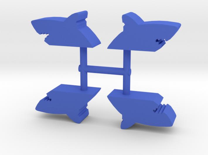 Shark Bite Meeple, 4-set 3d printed