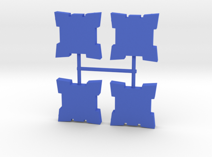 Square Star Fort Walls Meeple, 4-set 3d printed
