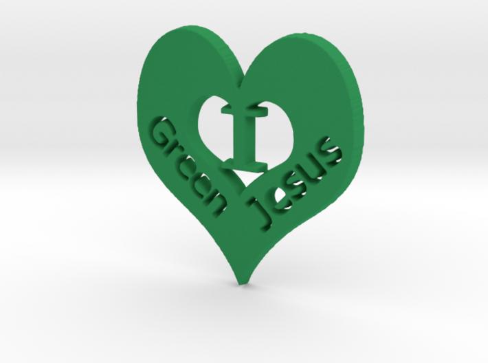 "I ""heart"" Green Jesus Pendant 3d printed I ""heart"" Green Jesus"