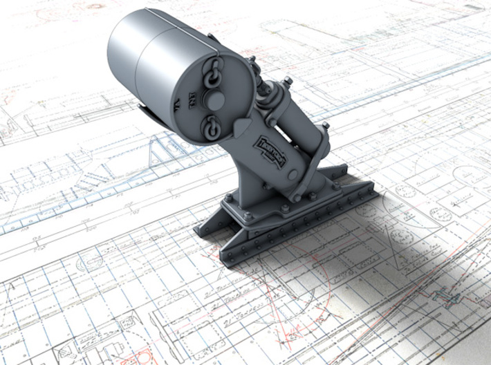 1/96 Royal Navy MKII Depth Charge Throwers x2 3d printed 3d render showing product detail