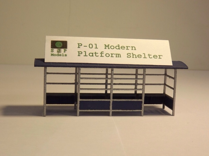 P-01 Platform Shelter 3d printed This finished model is finished in the most common Paint scheme for these shelters, Silver Frame with Blue Panelling and roof.
