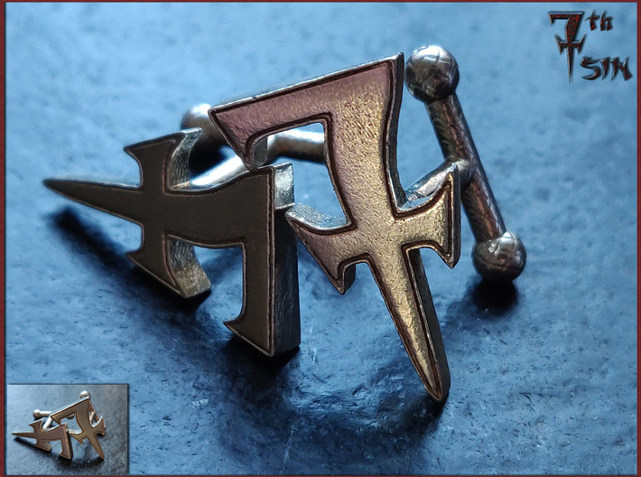 Monogrammed cufflink set 3d printed Photograph of the final product. Mind you, this is a detailed closeup. The actual object stands 23 mm tall. The insert in the lower left corner is a more representative of the actual size of the finished product.