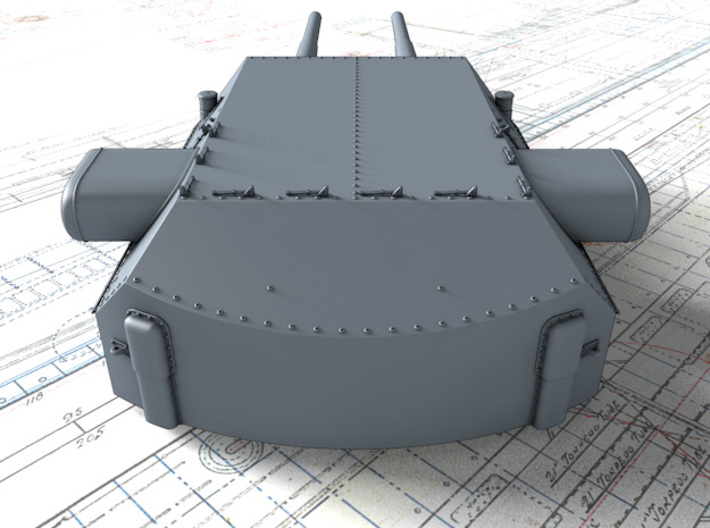 "1/400 H Class 40.6 cm/52 (16"") SK C/34 Guns 3d printed 3D render showing Anton and Dora Turret detail"