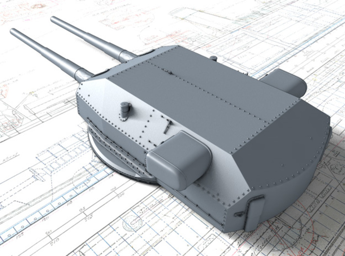 "1/600 H Class 40.6cm (16"") SK C/34 Guns Blast Bags 3d printed 3D render showing Bruno/Caesar Turret detail"