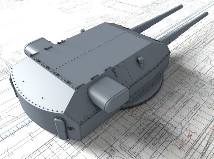 "1/720 H Class 40.6cm (16"") SK C/34 Guns Blast Bags 3d printed 3D render showing Anton and Dora Turret detail"