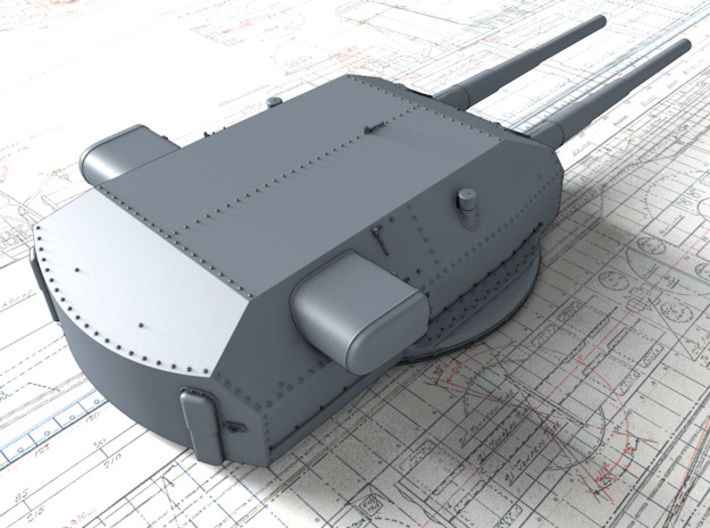 "1/720 H Class 40.6cm (16"") SK C/34 Guns Blast Bags 3d printed 3D render showing Bruno/Caesar Turret detail"