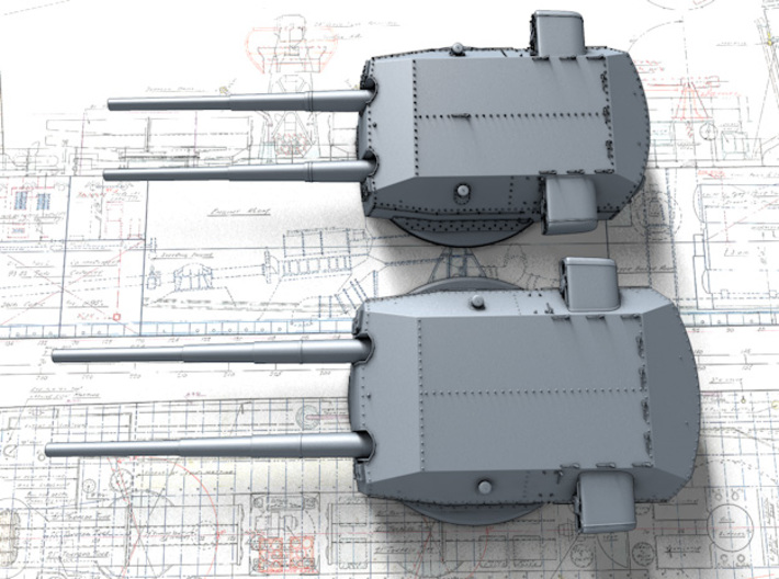 "1/720 H Class 40.6cm (16"") SK C/34 Guns Blast Bags 3d printed 3D render showing size comparison with 38cm Bismarck Class Turrets"
