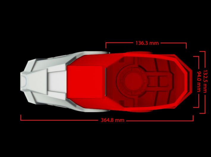 Iron Man Boot (Heel with sole) Part 1 of 4 3d printed CG Render (Top measurements, Heel with whole boot)