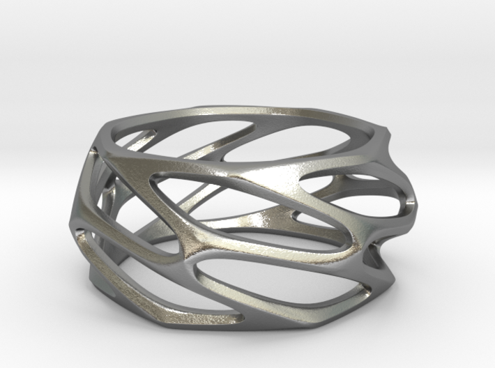Voronoi Silver Ring 3d printed