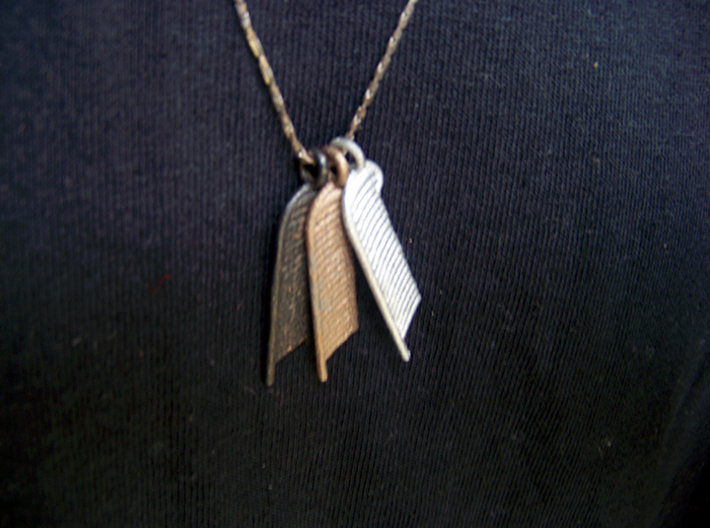 Feather of Ma'at Pendant 3d printed Polished Gold Steel, Stainless Steel, Matte Black Steel