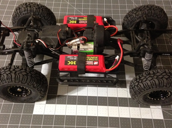 AD10002 floor & Battery mount (SCX10) 3d printed Shown fitted with two 3S 11.1V 2200 mAh LiPo batteries (Sold separately)