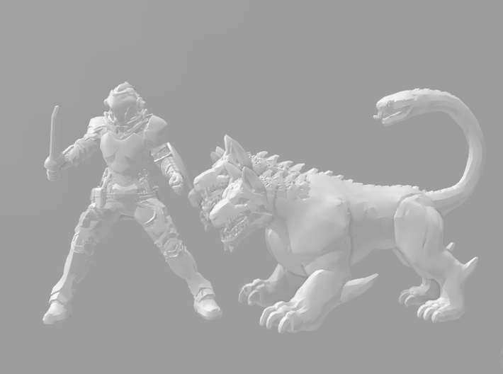 Cerberus dog 1/60 miniature for games and rpg 3d printed