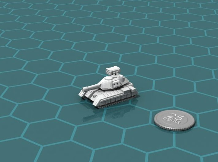 Terran Main Battle Tank, 1-piece. 3d printed Render of the model, with a virtual quarter for scale.