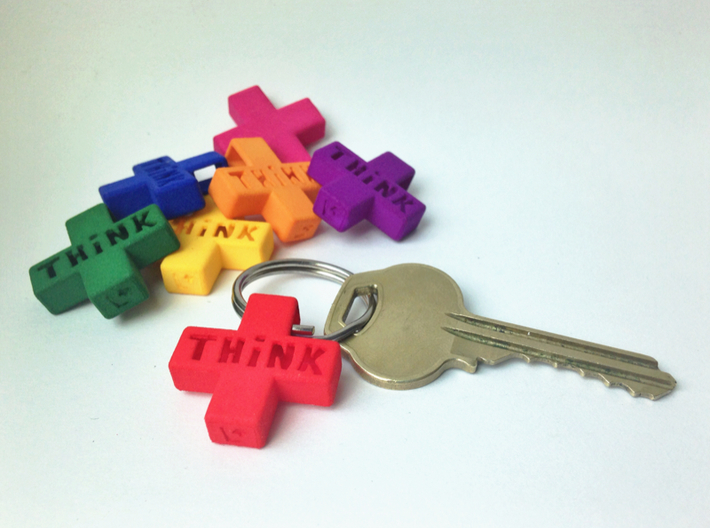 """""""Think Positive"""" Keychain 3d printed"""