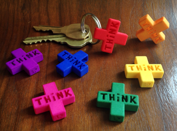 """Think Positive"" Keychain 3d printed"
