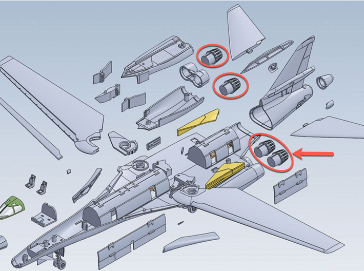 1:144 B-1B Lancer Late Exhaust 3d printed Items that this replaces