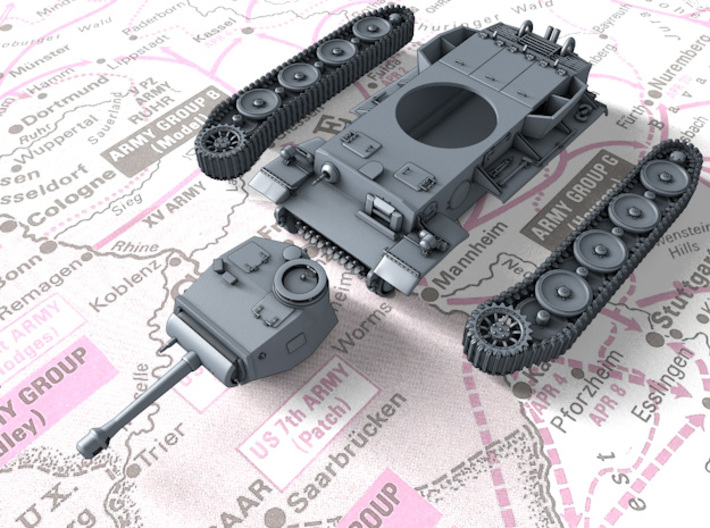 1/160 (N) Pz.Kpfw VI VK36.01 (H) 10.5cm L/28 Tank 3d printed 3d render showing product parts