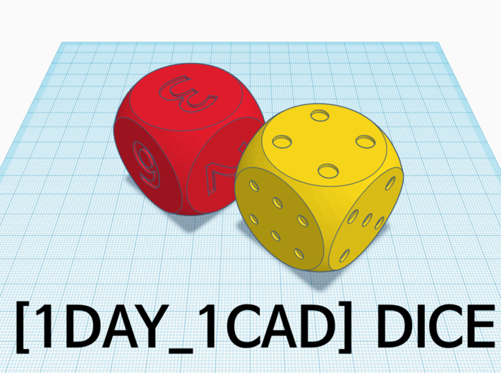 [1DAY_1CAD] DICE_number 3d printed