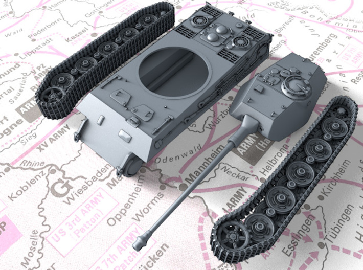 1/72 German VK 45.03 (H) Heavy Tank 3d printed 3d render showing product parts