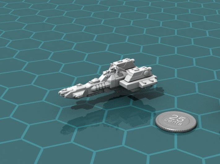 Union Missile Cruiser 3d printed Render of the model, with a virtual quarter for scale.