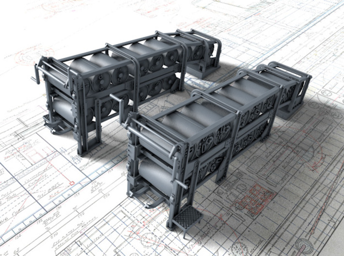 1/48 Flowers Class Large Depth Charge Racks x2 3d printed 3D render showing product detail (Depth Charges NOT included)