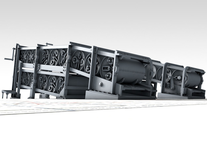 1/56 Flowers Class Large Depth Charge Racks x2 3d printed 3D render showing product detail (Depth Charges NOT included)