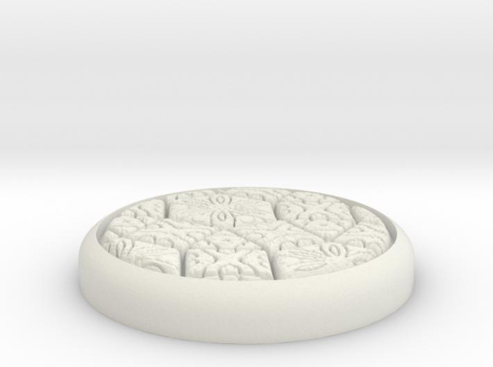 "Fancy 1"" Circular Miniature Base Plate 3d printed"