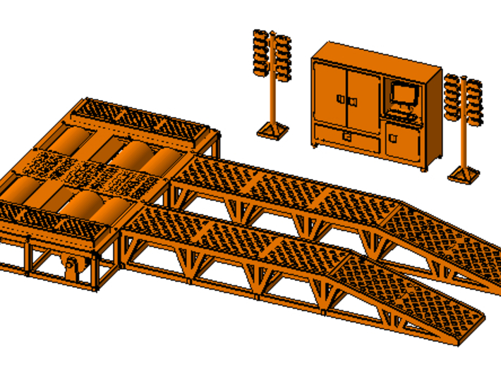 1/87th Dyno Dynamometer Chassis Test Platform 3d printed shown with dyno accessory set available separately