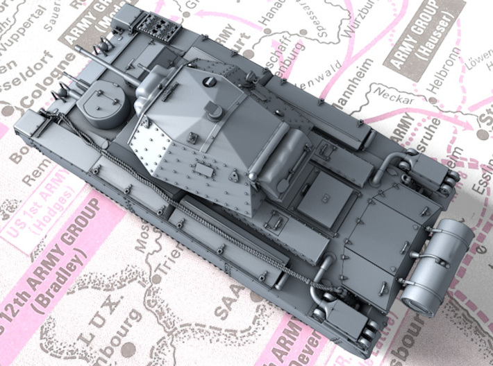 1/144 British Crusader Mk II Medium Tank 3d printed 3d render showing product detail