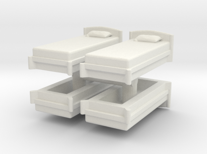 Single Bed (x4) 1/120 3d printed