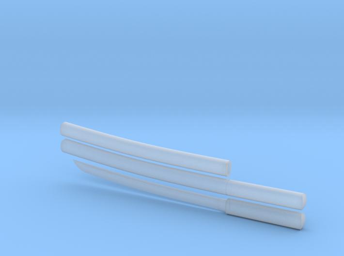 Wakizashi - 1:12 scale - Curved blade - Plain 3d printed