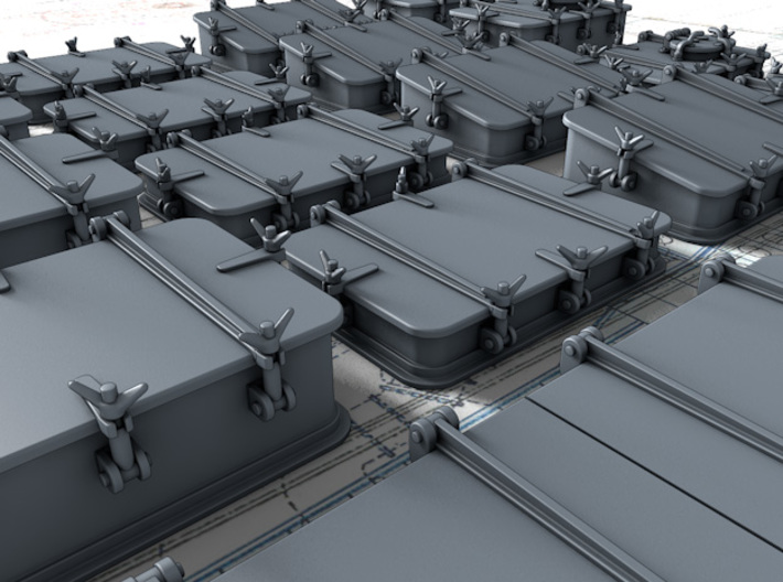 1/96 Scale Royal Navy Deck Hatch Set x18 3d printed 3d render showing product detail
