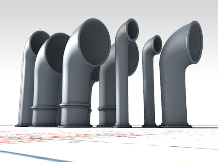 1/48 Scale Flowers Class Small Vent Set (10 Vents) 3d printed 3d render showing product detail