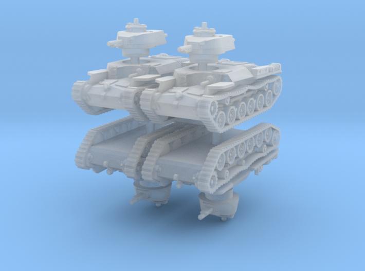Chi-Ha Tank (x4) 1/220 3d printed