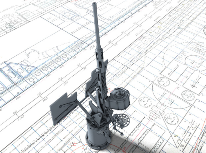 1/18 RN 20mm Oerlikon MKVIIA x1 Non-Depressed 3d printed 3d render showing Barrel elevation at 85º