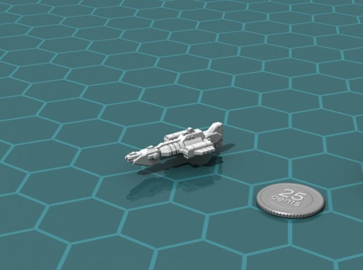 Union Missile Frigate 3d printed Render of the model, with a virtual quarter for scale.