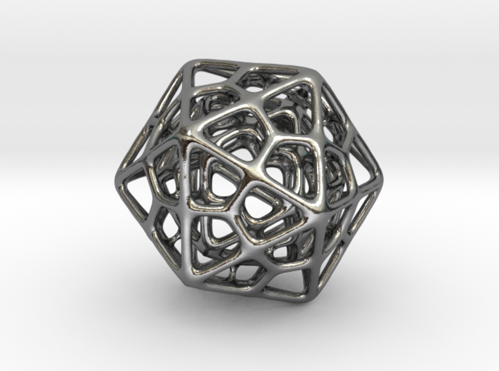 Double Icosahedron Silver 3d printed