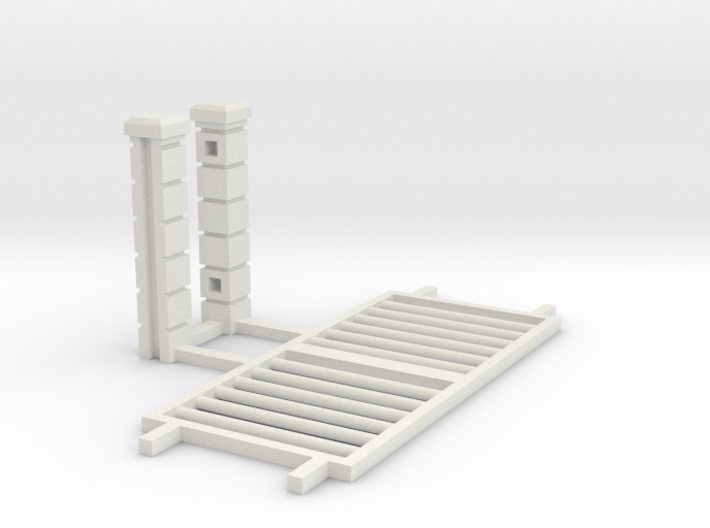 Block Wall - Rod Iron Vehicle Gate-1 3d printed Part # BWJ-031