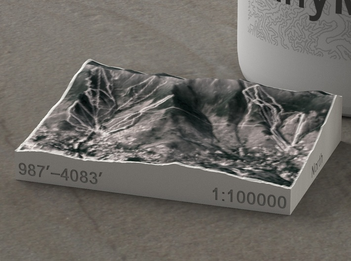 Sugarbush Resort, Vermont, USA, 1:100000 3d printed