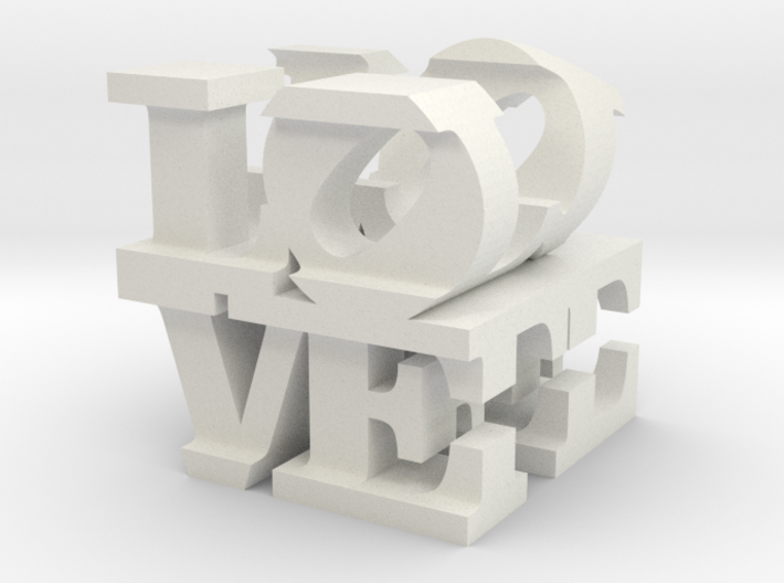 """love/life - small (1"""") 3d printed"""