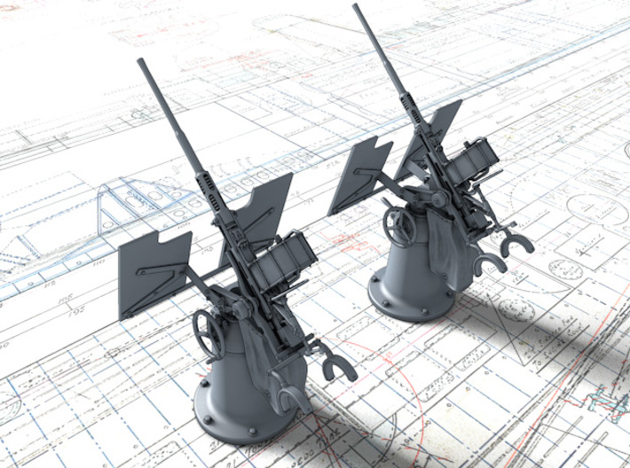 1/96 Royal Navy 20mm Oerlikon MKI 45º x2 3d printed 1/96 Royal Navy 20mm Oerlikon MKI 45º x2