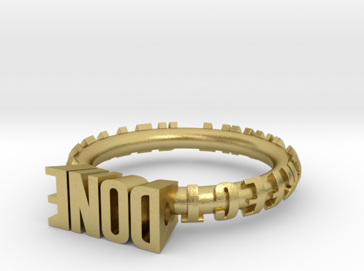 "ring ""Done is better than perfect"" 3d printed"