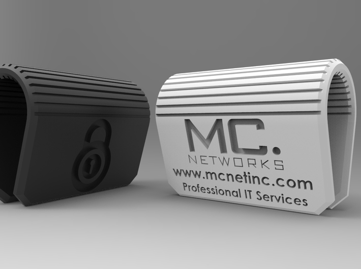 MC-Networks Logo Corporate Webcam Security Cover 3d printed Render of webcam covers black and white
