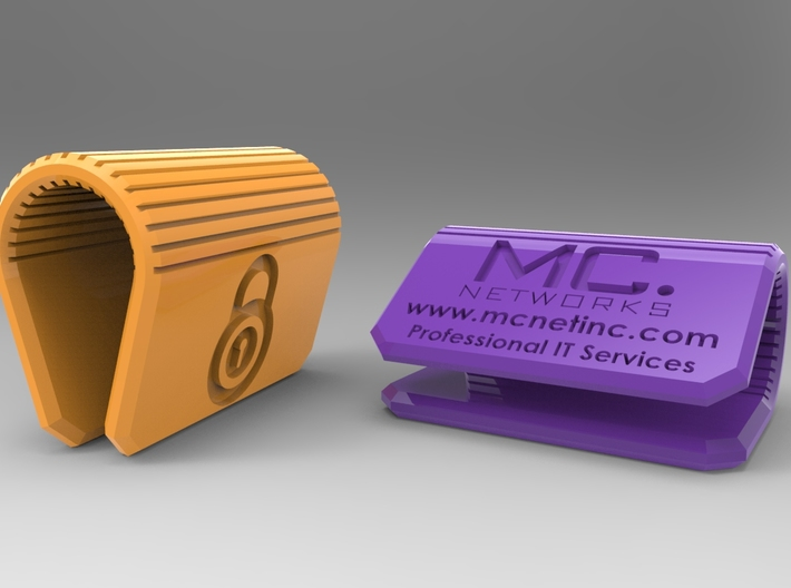 MC-Networks Logo Corporate Webcam Security Cover 3d printed Render of webcam cover yellow and purple
