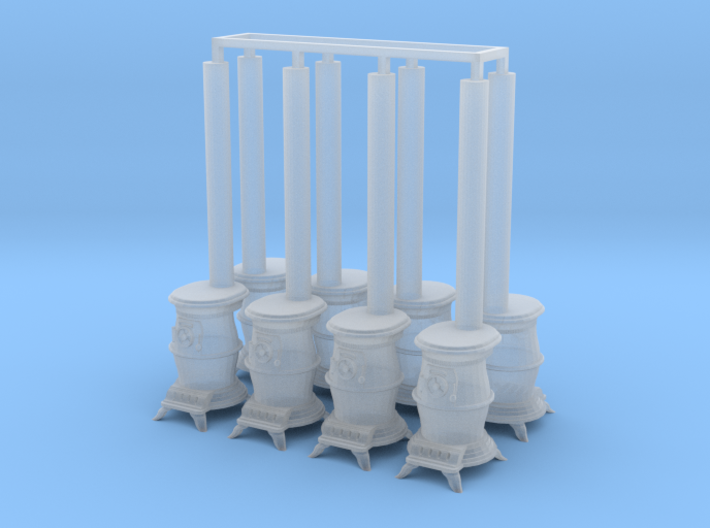 8 wood or coal pot-belly stoves 3d printed