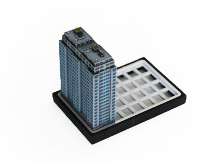 New York Set 1 Residential Building 2 x 4 3d printed picture of the actual print (placed on a base plate)